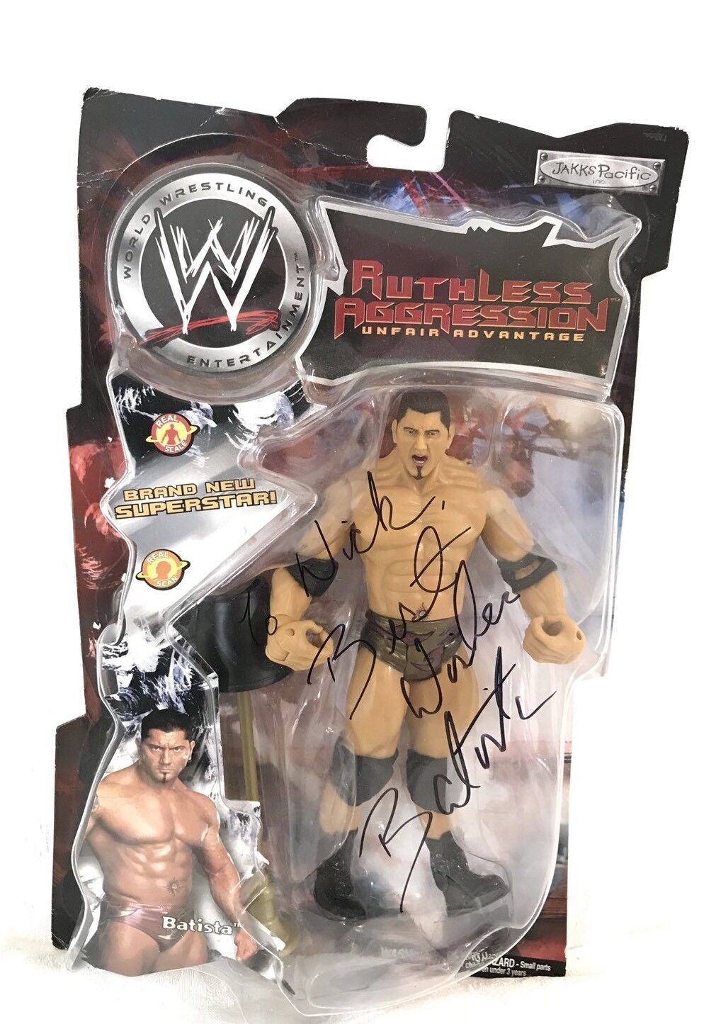 "WWE Wrestling Jakks Ruthless Aggression Series Dave Batista 7"" Figure SIGNED"