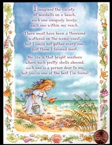 Details about Beach Ocean Girl Conch Shell Blue Sky Sand Waves - Friendship  Greeting Card New