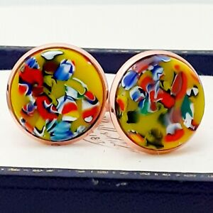 Vintage-1950s-Yellow-Harlequin-Confetti-Glass-Large-Round-Rose-Gold-Cufflinks