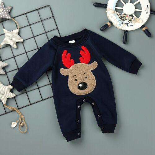Hot Xmas Infant Baby Boy Girls Elk Long Sleeve Dark Blue Bodysuit Clothes Outfit
