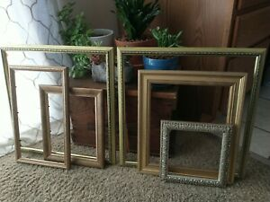 Vintage Gold Wood Ornate PICTURE FRAME Lot  Recycle Art Crafts Deco Estate Sale