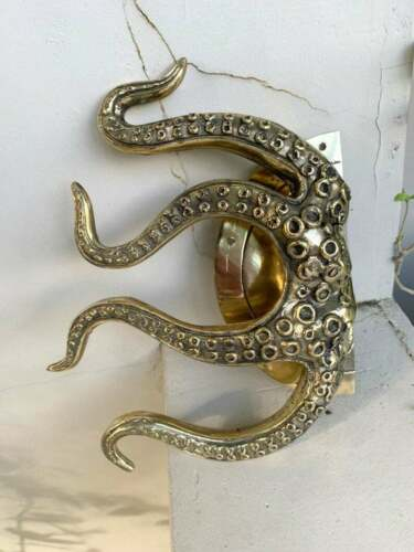 """pair OCTOPUS Solid 100/% Brass hand POLISHED Door PULL HANDLE 9/"""" high aged B"""