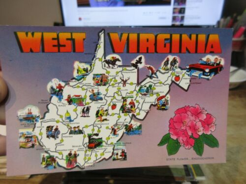 Vintage Old West Virginia Postcard Cartoon State Map Shady Springs Summersville Us States Cities Towns Postcards