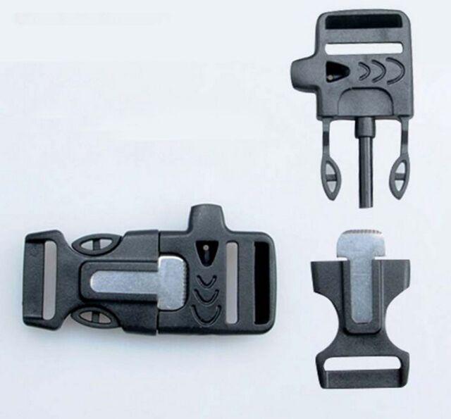 Side Release Whistle Buckle w/Flint Fire Starter&Striker For Paracord Bracelet A