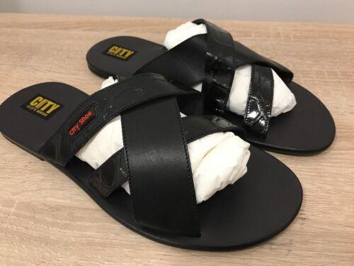 Latschen 43 Man City Echtes Schwarz Sandalen Gr Shoes Schuhe Shoe Herren Leder SnnRv8