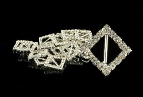 10 pièce rectangle circle heart square diamond crystal buckle ribbon sliders