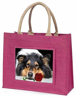Ein Grober Collie Hund mit roter Rose Große Rosa Einkaufstasche Weihnachten P,