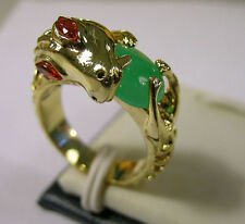 Oriental dragon w/ green jade dragonball ring US Size7