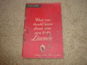 1949 Lincoln & Cosmopolitan Factory Original Owners Manual Nice Condition