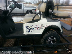 Golf Cart Tribal American Flag Decals Flame Graphics Ezgo