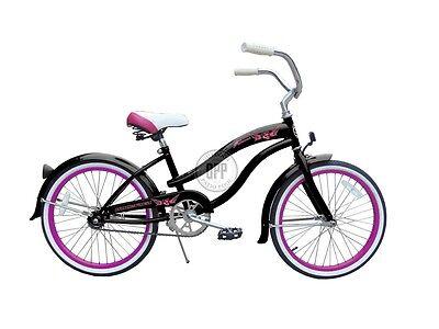 "Micargi Famous Girls 20"" Beach Cruiser Bicycle Black with Hot Pink Rims"