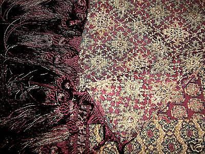 """Luxury Designer Tapestry Runner Merlot Hunter 8"""" Fringe STUNNING!!"""