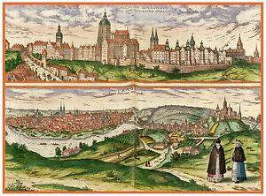 Old Vintage Decorative Map of Prague Braun and Hogenberg 1598