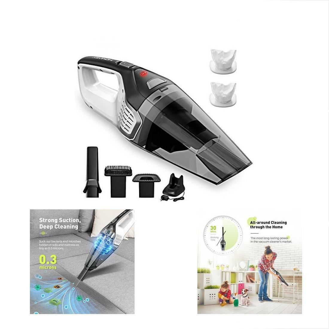 Homasy Handheld Vacuums Rechargeable Cordless, Powerful Cyclonic Suction 14.8V