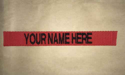 CUSTOM RED EMBROIDERED NAME TAPE VARIOUS COLORS LETTERS