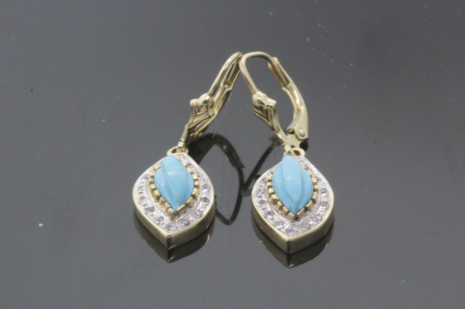 Women's 14k Yellow gold Turquoise & Diamond Earrings 5.9g 0.20tcw G-H SI1