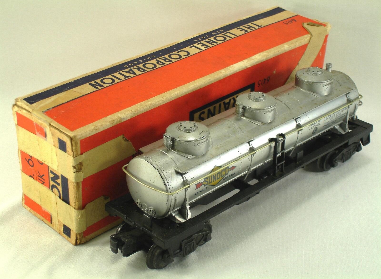 1953 LIONEL O GAUGE 6415 SUNOCO THREE-DOME TANK CAR w  ORIGINAL BOX (6415-18)