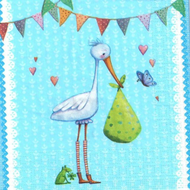baby animals New baby boy cute design-569 4 Single paper decoupage napkins