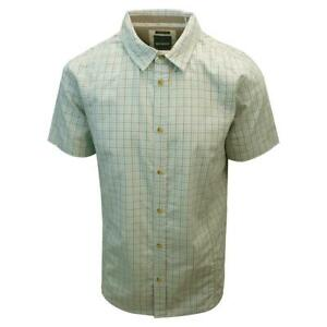 prAna Men's Cyan Box Plaid S/S Woven Shirt (Slim Fit) S03
