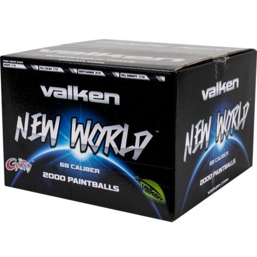 1000ct Valken New World Paintballs Blue Fill Thick Blue Stripe 68cal