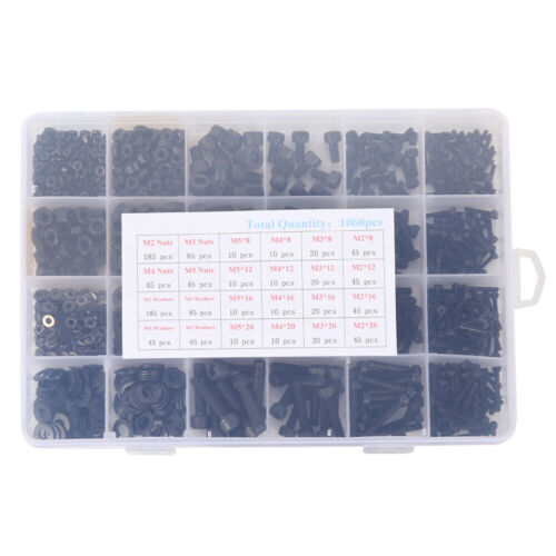 1060pcs Assortiment M2 M3 M4 M5 Steel Hex Vis /& Socket Boulons et Écrous Clé Kit