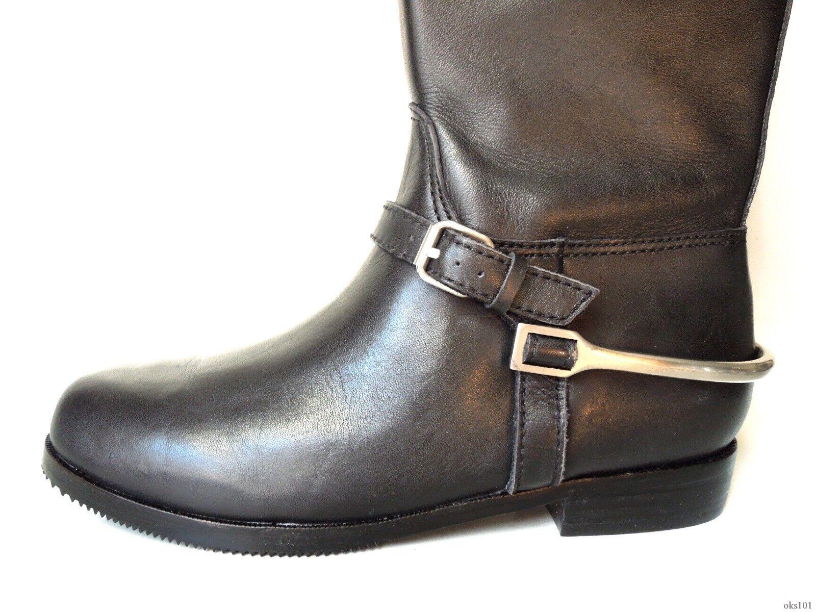 new 425 Pour La Victoire black Equestrian stirrup TALL FLAT riding BOOTS 7.5
