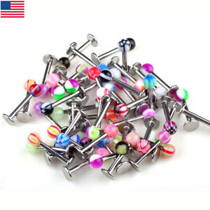100-50Pcs-Bulk-Ball-Lip-Rings-Labret-Bars-Stainless-Steel-Stud-Body-Piercing-Lot