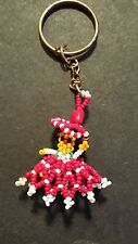 """BEADED DOLL KEY CHAIN & RING HAND CRAFTED FROM INDIA RED AND WHITE 2"""" FIGURE"""