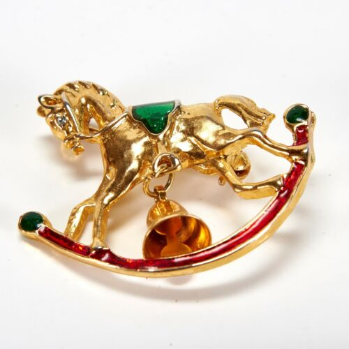Vintage Gold Tone Horse Head and Horseshoe with Black Antiquing Stick Pin Costume Jewelry Statement Retro Hat Pin Stickpin Racing Derby