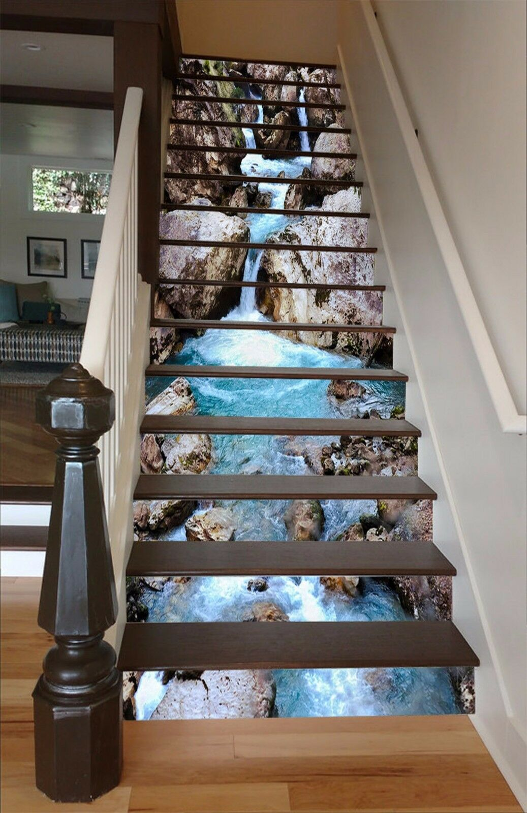 3D River stone 57 Stair Risers Decoration Photo Mural Vinyl Decal Wallpaper UK