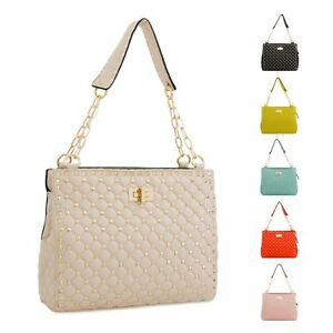 e970a67f91 Image is loading Ladies-Designer-Faux-Leather-Studded-Shoulder-Bag-Chain-
