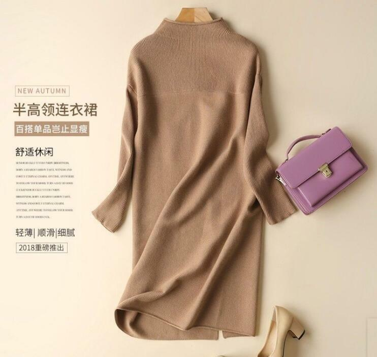 New Vogue Womens Wool Long Sleeve Soft High-end Knitted Long Dress Sweaters Tops