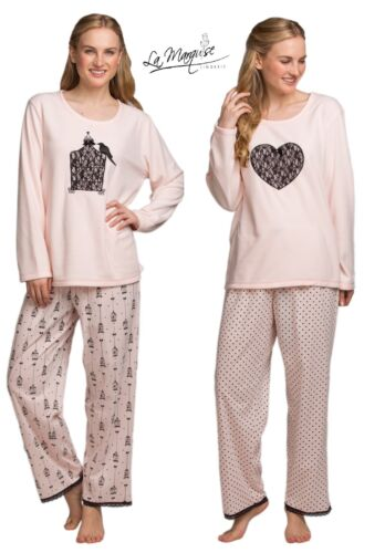corazones o jaulas Polar Top Invierno Pijama Talla S-XL 57214 LA MARQUISE Señoras