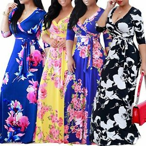 Plus-Size-Women-039-s-Boho-Floral-Strappy-Dresses-Ladies-Summer-Holiday-Beach-Dress
