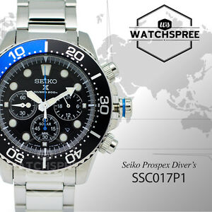 Seiko Mens Chronograph Diver Solar Watch SSC017P1