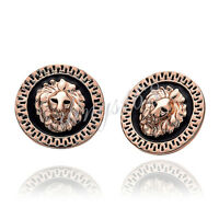 18k Rose Gold Filled Sublime Lion's Head Stud Post Earrings 25mm * 25mm H978