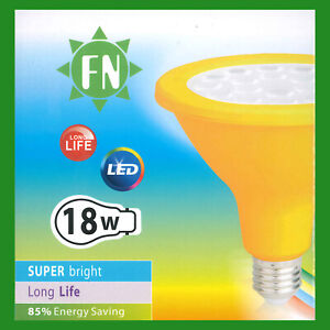 3x-18-W-PAR38-Jaune-Colore-DEL-Flood-reflecteur-ES-E27-Ampoule-Lampe