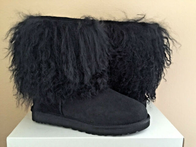 a8f0772d13e UGG Australia Womens Short Sheepskin Cuff Black Mongolian BOOTS US 5 UK 3.5  36