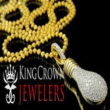 Yellow Gold Silver Lab Diamond Mini Light Bulb Pendant Charm Chain Necklace Set
