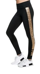 NWT-VICTORIA-039-S-SECRET-PINK-GOLD-BLING-SEQUIN-LOGO-BLACK-COTTON-FOLDOVER-LEGGINGS