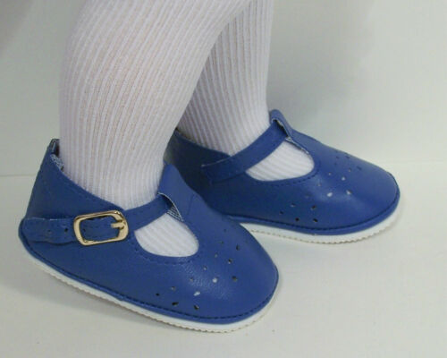Debs DK BLUE Old Fashion T-Strap Tstrap Cut-Out  Doll Shoes For Chatty Cathy