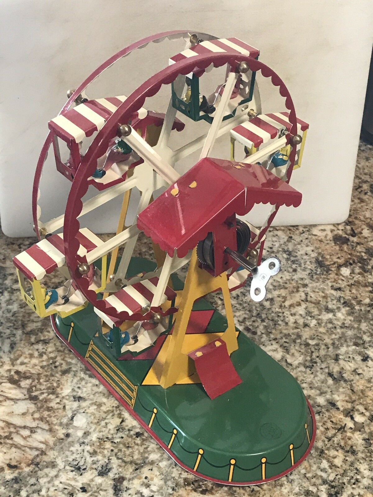 Wagner/Brunn Tin Ferris Wheel Toy Carousel With Windup Key & Original Box
