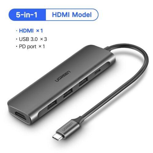 Ugreen Thunderbolt 3 Dock Adapter USB C to 3.0 HUB HDMI Converter Fr MacBook Pro