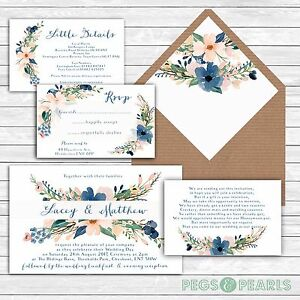 Personalised-Luxury-Rustic-Wedding-Invitations-BLUSH-amp-NAVY-FLORAL-packs-of-10