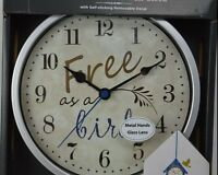 Free As A Bird Wall Clock Silver Red Wall Decal Birdhouse Glass Metal Hands Red