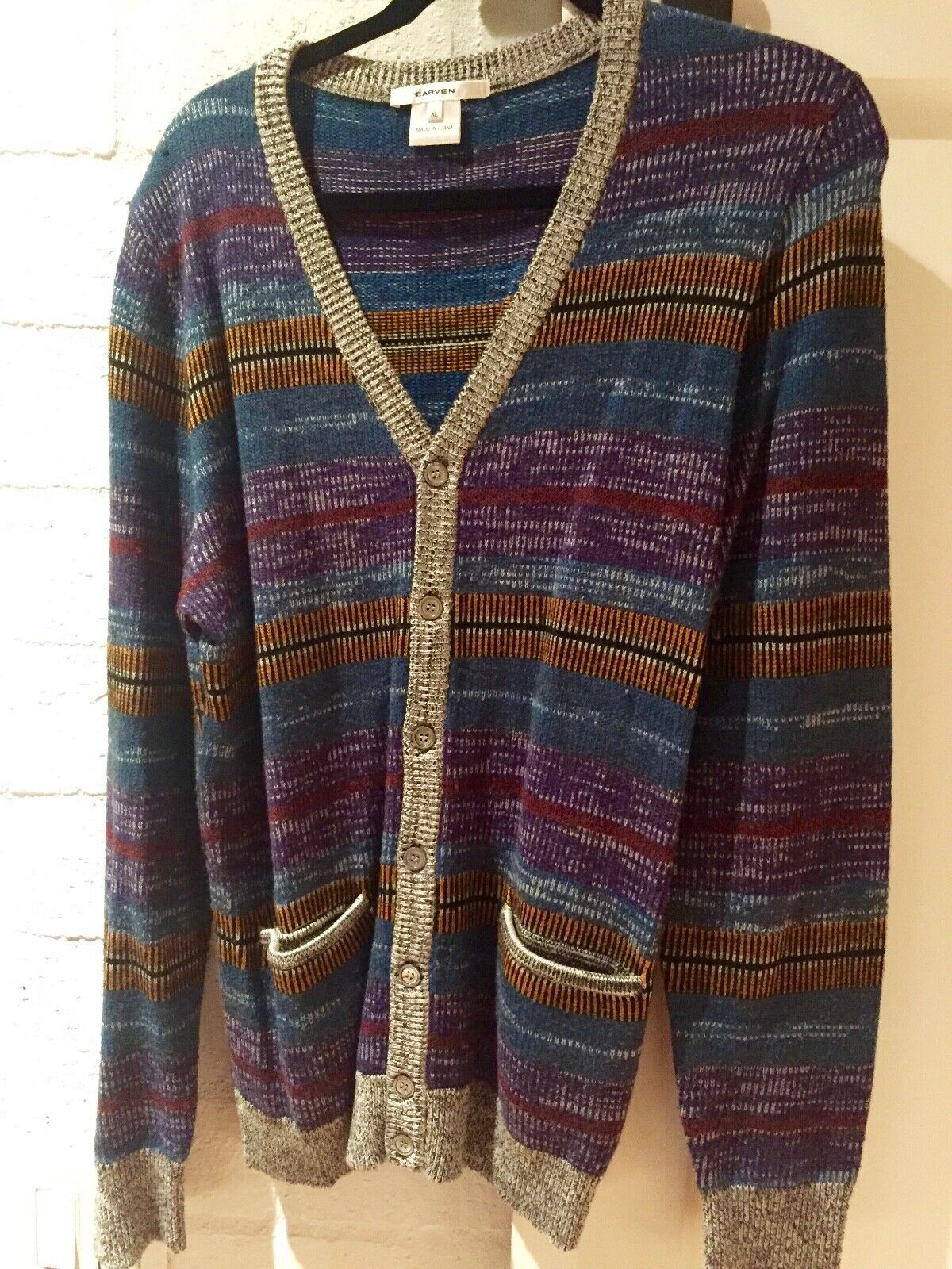 Carven 100% Wool Multi colord Cardigan Sweater XL