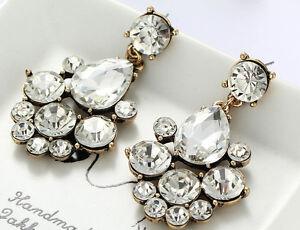 1-Pair-Elegant-White-Crystal-Rhinestone-Ear-Drop-Dangle-Stud-long-Earrings-187