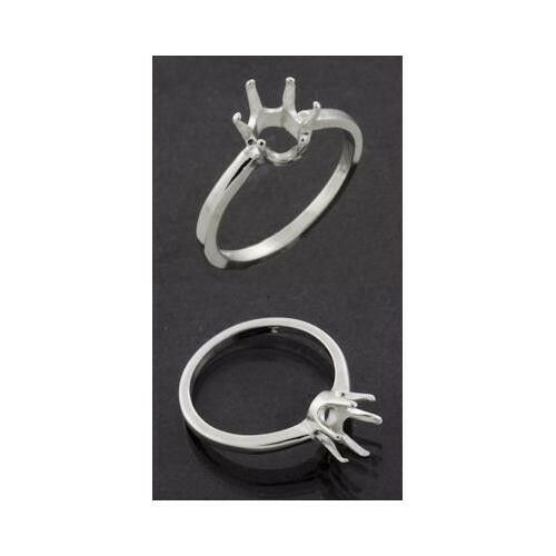 (5x3mm - 8x6mm) Oval 6-Prong Sterling .925 Ring Setting (Ring Sizes 5,6,7, 8 )