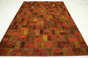 Orient-Tapis-Patchwork-Vintage-overdyed-red-rouge-moderne-310x200-Used-Look-1867
