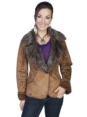 New Women's Scully Stylish Fashionable Faux Shearling Western Jacket Brown Rust